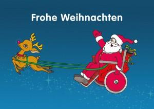 Auf der Grafik ist ein winkender Weihnachtsmann zu sehen. Passend zu der Logo-Farbe der WAG Assistenzgenossenschaft trägt er einen magenta-farbigen Weihnachtsmann-Anzug. Der Weihnachtsmann sitzt im Rollstuhl. Dieser wird von einem Rentier gezogen. Die leuchtende Nase des Rentieres ist auch magenta. Beide fliegen auf blauem Glitzerstaub durch die Nacht. Darüber steht Frohe Weihnachten geschrieben.