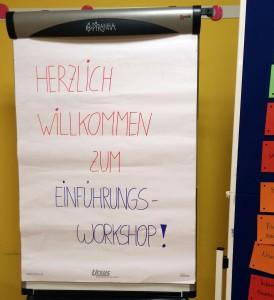 """Flipchart: """"Herzlich Willkommen zum Einführungsworkshop"""""""