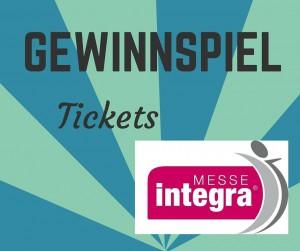 Text: Gewinnspiel - Tickets und Integra-Logo auf grünblauem Hintergrund