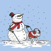 blinder Schneemann mit weißem Stock und Blindenführhund