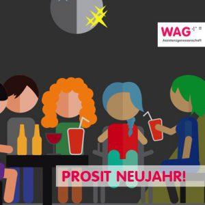 Das Bild zeigt eine Zeichnung mit skizzierten Personen, die vermutlich in einer Bar gemeinsam etwas Trinken. Es könnten Cocktails sein. Das Bild stammt aus dem Animationsfilm: Ein Tag mit Persönlicher Assistenz.