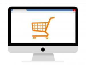 stilisierter Einkaufswagen auf Computerbildschirm